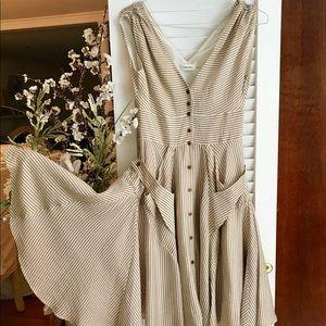 Calvin Klein Brown and Cream Striped Swing Dress